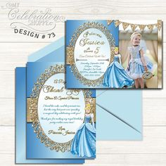 PRINCESS CINDERELLA BIRTHDAY INVITATION PRINTABLE DIGITAL FILE     Do you have a big Cinderella fan at home that's excited to have a Cinderella birthday party? Then look no further than this whimsically vibrant and playful invitation to help make their dreams come true! From blue and gold, to the sheen and trendy patterns, this adorable Cinderella birthday invitation is sure to please your little princess and kick off the party in style! Cinderella Invitations, Princess Birthday Invitations, Cinderella Birthday, Printable Birthday Invitations, Cinderella Pictures, Picture Invitations, Invite Your Friends, Little Princess, Invitation Design