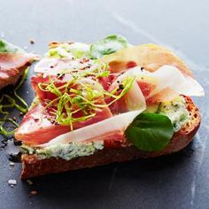 Green Garlic Prosciutto Toasts | MyRecipes.com
