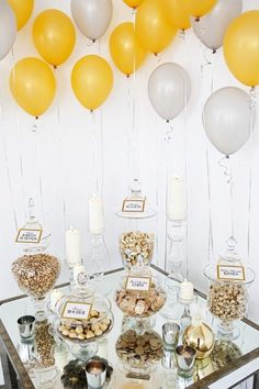 balloon, chocolate, candles, gold, silver, decorations, dessert, alternative (dessert), sparkly, glamorous , candy, decor, food, little, metallic, reception, shower, sparkle, yellow, new, years, eve