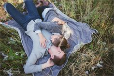 Engagements laying on a blanket!  Lori Romney Photography