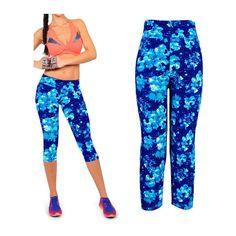 High Waist Yoga Capri Leggings - Blue Floral