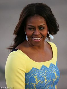 Smiling: The Let Girls Learn initiative has been championed by Mrs Obama and her husband, ...
