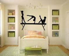 Amazon.com: Gymnasts and Balance Beam Vinyl Wall Decal Sticker Graphic By LKS Trading Post: Home & Kitchen