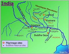 Eight places are holy to the Buddhists because they are locations of the important events in Buddha's life. The 4 most holy are concentrated in NE India and S Nepal.