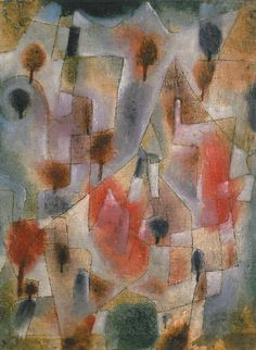 Paul Klee  'Landschaft mit Blauen und Roten Baumen' 1920  Olio e penna su imprimitura a gesso su tela su cartone  41 x 32 cm