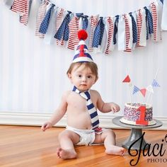 Nautical Red, White, Baby Blue, Navy Rag Cloth Garland Banner Newborn Photography Prop Home Decor Birthday Party