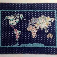 Pdf pattern our world patchwork map quilt pattern full sized our world patchwork map applique quilt gumiabroncs Image collections