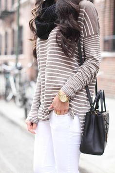 Fall Winter Spring Fashion Outfit Idea School College Casual Stripes