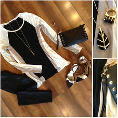 Our look of the day features a new BCBG top paired with coated black skinnies. We added Sam Edelman calf hair ankle strap pumps, a Hammitt Los Angeles wristlet and Dean Davidson necklace & ring for a casually chic look!