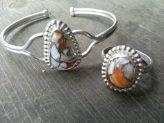 Just finished #spiney #oyster #ring and #bracelet set.. #sterling #silver #finesilver