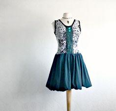 Animal Print Women's Sleeveless Dress Black Bubble Skirt Turquoise Sequins Eco Friendly M