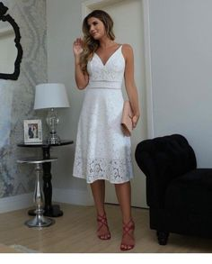 Vestido, look casual chic, rehearsal dinner dresses, little white dresses, White Dress Outfit, White Dress Summer, Little White Dresses, Dress Outfits, Lace Dress, Dress Skirt, Casual Dresses, Summer Dresses, Fall Fashion Outfits
