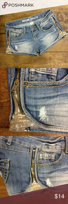 """Mossimo Supply Co. Sequin Embellished Jean Shorts Mossimo Supply Co. by Target  Very cute denim jean shorts with zippers and sequins on the sides!  Perfect to wear all summer long. Some factory frays and """"destructed"""" denim look  Gently used condition  69% cotton/ 30% polyester Mossimo Supply Co. Shorts Jean Shorts"""