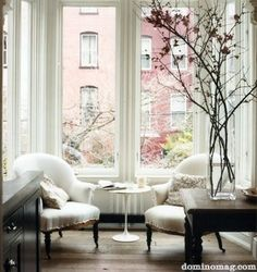 white chairs, white curtains, branches...Love everything about this