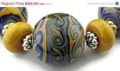 ON SALE Big Silver Rattan with Silvered Blue Round Lampwork Beads (19)- LEteam- All Fired Up Studio on Etsy, $76.50
