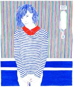 Carine Brancowitz - Paris, France artist The artists use mostly blues Andre hole image is drawn and not uses from a magazine. The blue is accentuated by an accent colour often she as red. A lot of white is used in the background of the art and also a lot of lines are used.black is sometimes also used in the art