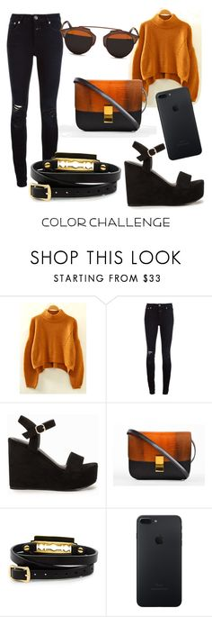 """""""blackorange"""" by ria-fitri ❤ liked on Polyvore featuring Closed, Nly Shoes, CÉLINE, McQ by Alexander McQueen, Christian Dior, orangeandblack and colorchallenge"""