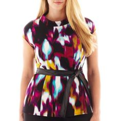 bb028ea9f47 Worthington® Short-Sleeve Belted Peplum Top - Plus found at  JCPenney  Stylish Plus