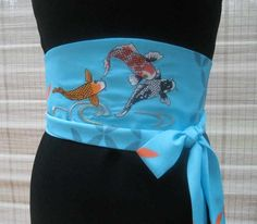 Japanese Vintage Kimono Sky Blue Obi Belt with Jumping Koi Carp Embroidery by Christ'l Couture