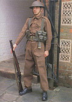 A World War Two British Army re-enactor. Not sure what's up with his web gear - I wonder if that's Great War era? British Army Uniform, British Uniforms, Ww2 Uniforms, British Soldier, Military Uniforms, Military Gear, Military History, World War One, First World