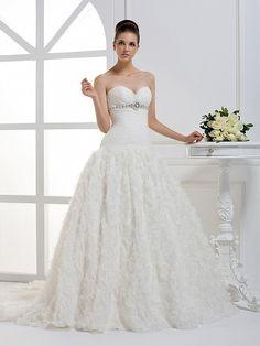 Beautiful Sleeveless with Dropped waist wedding dress $563.00