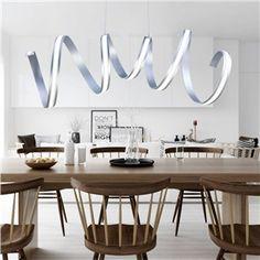 Modern Simple Aluminum + Acrylic Chrome Spiral LED Ceiling Light