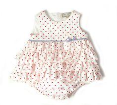 RED DITSY POLKA ELLA ROMPER - Baby Dresses & Skirts - Baby Girl - Baby