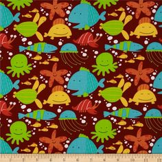 Beach Tossed Sea Creatures Bay Maroon from @fabricdotcom  Designed by David Walker Studios for Free Spirit, this fabric is perfect for quilting, apparel and home décor accents. Colors include red, orange, aqua, white, yellow, lime and maroon.