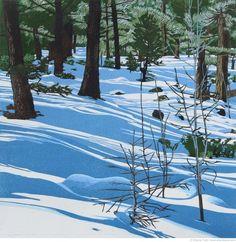 """Shadowplay reduction linocut  18"""" x 18"""" ©SherrieYork www.sherrieyork.com"""