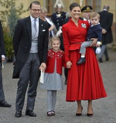 Prince Daniel, Princess Estelle, Crown Princess Victoria, and Prince Oscar at Prince Gabriel's christening at Drottningholm Church