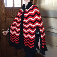 Vintage Poncho  Vintage Crocheted Poncho  Red by MyVintagePoint