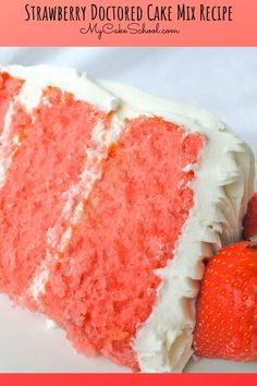 Moist and delicious Strawberry Doctored Cake Mix recipe! This strawberry cake is so easy to make, and is perfect for a quick and delicious dessert! The Cake Mix Doctor, Doctor Cake, Mini Cakes, Cupcake Cakes, Cupcakes, Easy Desserts, Delicious Desserts, Thanksgiving Cakes, Strawberry Cake Recipes