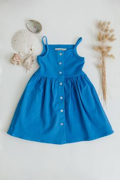 Soft timeless dress that can be worn over and over again with a button down front and circle skirt. Length from top of bodice to skirt hem Waist 9 Little Girl Summer Dresses, Little Girl Outfits, Little Girls, Girls Dresses, Summer Sun, Summer Looks, Future Clothes, Button Up Dress, Girl Clothing