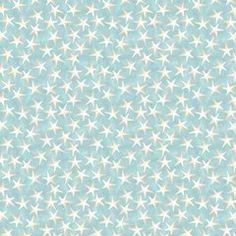 White Star Fish, Sand, Light Blue, Coastal Bliss, Danhui Nai, WP (By 1/2 Yd)