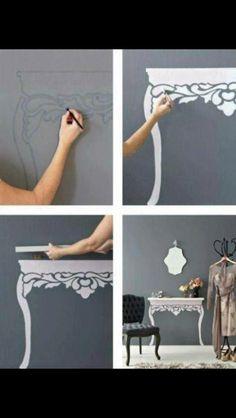 Die Beine mit Klebefolie, falls man nicht an die Wand malen darf.