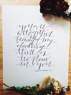 Song of Solomon 4:7 Calligraphy Print