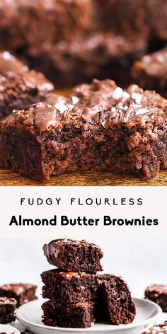 Fudgy Flourless Almond Butter Brownies (gluten free dairy free) Healthy almond Brownies Butter dairy Flourless Free Fudgy gluten healthy dessert recipes under 100 calories Savory Bon Dessert, Dessert Aux Fruits, Paleo Dessert, Healthy Dessert Recipes, Delicious Desserts, Gluten Free Dairy Free Desserts, Heart Healthy Desserts, Whole 30 Dessert, Dairy Free Appetizers