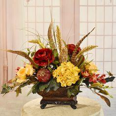 Diy Silk Flower Arrangements, Artificial Floral Arrangements, Flower Centerpieces, Faux Flowers, Silk Flowers, Rectangle Vase, Resin Planters, Flower Pots, Bold Colors