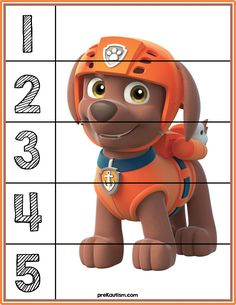 Paw Patrol Number Puzzles - Activities For Toddlers With Autism Autism Activities, Toddler Learning Activities, Infant Activities, Toddler Preschool, Teaching Kids, Kids Learning, Teaching Spanish, Counting Puzzles, Number Puzzles