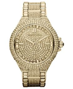 Michael Kors Watch, Women's Camille Crystal-Covered Gold Tone Stainless Steel Bracelet 44mm MK5720