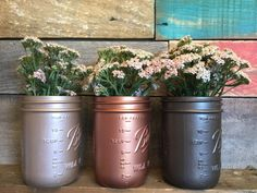 Set of three pint size mason jar #vases in light #bronze, #copper, and dark bronze. You can choose this color scheme or choose your own. This would look perfect as a centerpie... #jars #gifts #rustic #distressed #metallic