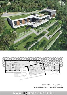 [how'd you like to be the gardener for this? lol jh] Modern Villa Saint Helena d … - Modern Architecture Villa Plan, Modern Architecture House, Architecture Plan, Modern Villa Design, Hillside House, Modern House Plans, Home Design Plans, Saint Helena, Houses
