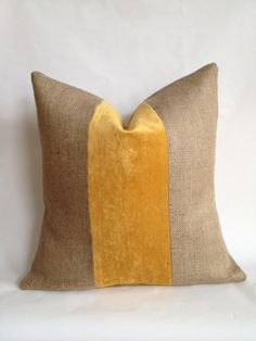 Gold Crushed Velvet & Burlap Pillow Cover by BouteilleChic on Etsy, $21.00