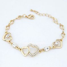 Pretty gem embedded heart to heart unique bracelet Unique Bracelets, Fashion Bracelets, Bangle Bracelets, Fashion Jewelry, Gold Jewelry, Jewelry Accessories, Jewelry Design, Women Jewelry, Jewellery