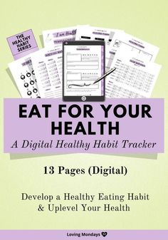 The Eat for Your Health Habit Tracker Kit is now in digital planner format for your iPad or tablet. 50% off for a limited time!  #healthandwellness #habittracker #digitalplanner