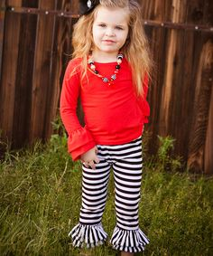 Look at this Red Ruffle Top - Toddler & Girls on #zulily today!