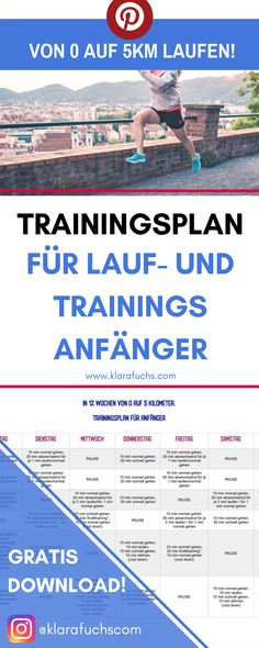 From 0 to 5 km. Training plan for beginners - Klara Fuchs - Fitness Fitness Workouts, Easy Workouts, Fitness Courses, Fitness Motivation, Walking Exercise Machine, Strength Training For Runners, Gratis Download, Flexibility Workout, Nutrition