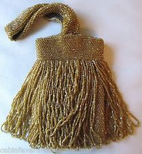 Antique Art Deco Brown Amber Yellow Bead Fringe Tassel Lined Flapper Purse Clothing, Shoes & Accessories Bags, Handbags & Cases