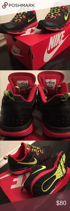 Nike Dual Fusion Trail Running Black/Volt/Red Great condition! Only wore once. Nike Shoes Sneakers