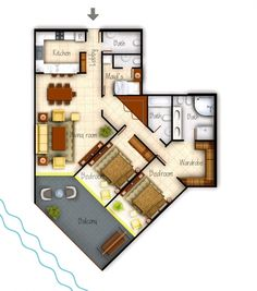 Colored House Floor Plans kwp) colored plan | cad drafting services - colored plan